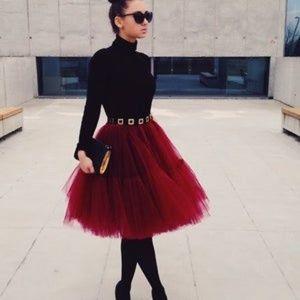 Red Burgundy Full Layered Petticoat Tulle Skirt